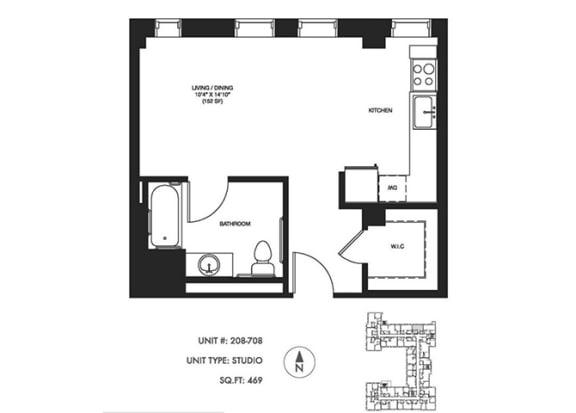 Studio 469 sqft Floor Plan at Somerset Place Apartments, Illinois, 60640