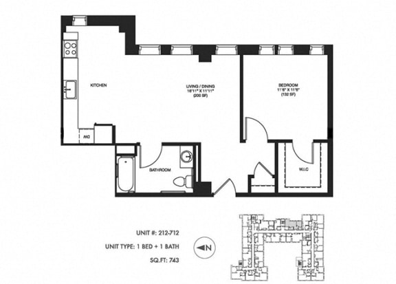 1 Bed 1 Bath 743 sqft Floor Plan at Somerset Place Apartments, Illinois