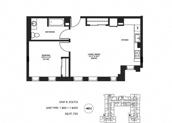 1 Bed 1 Bath 723 sq ft Floor Plan at Somerset Place Apartments, Chicago, Illinois