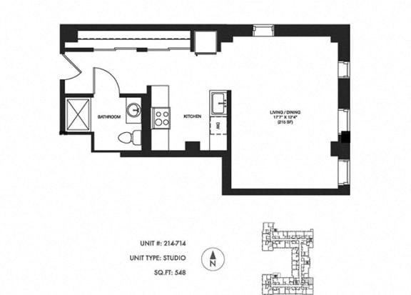 Studio 548 sqft Floor Plan at Somerset Place Apartments, Chicago, Illinois
