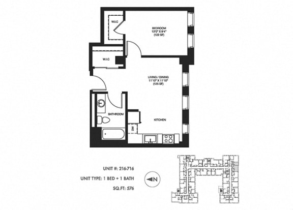 1 Bed 1 Bath 576 sqft Floor Plan at Somerset Place Apartments, Chicago