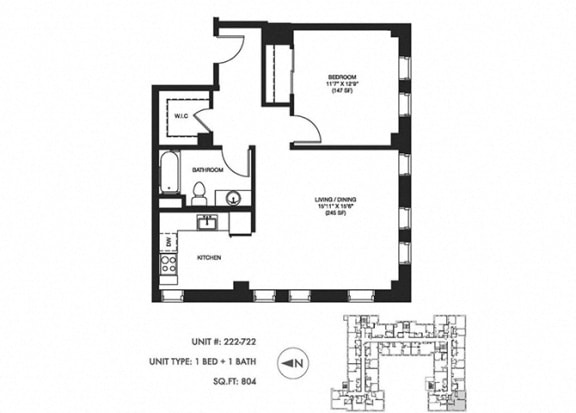 1 Bed 1 Bath 804 sqft Floor Plan at Somerset Place Apartments, Illinois, 60640