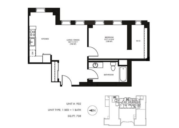 The Penthouse 738 sqft Floor Plan at Somerset Place Apartments, Illinois, 60640