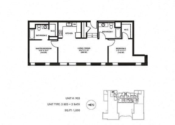 The Penthouse 1050 sqft Floor plan at Somerset Place Apartments, Illinois