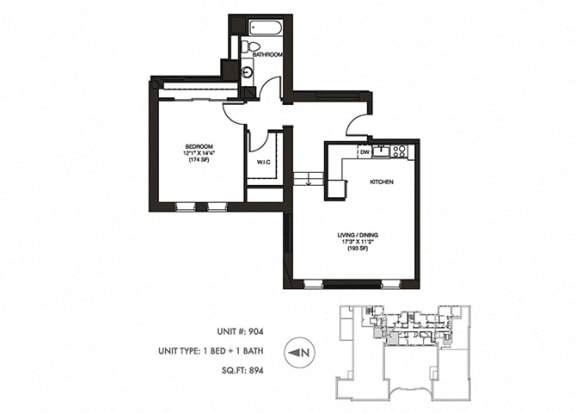 The Penthouse 894 sqft Floor Plan at Somerset Place Apartments, Chicago, Illinois