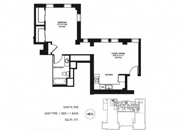 The Penthouse 771 sqft Floor Plan at Somerset Place Apartments, Chicago, IL