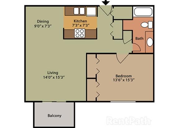 1 Bed 1 Bath East Phase at Candlewyck Apartments, Kalamazoo, 49001