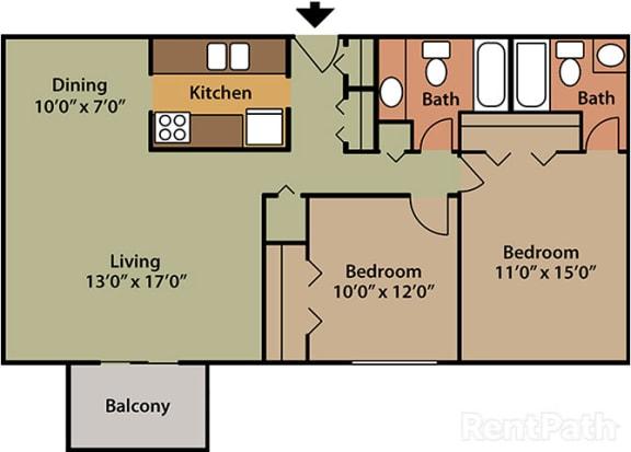 2 Bed 2 Bath Furnished at Candlewyck Apartments, Kalamazoo, Michigan