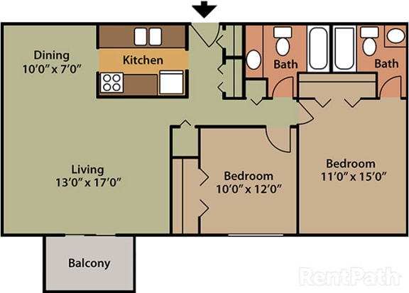 2 Bed 2 Bath West Phase at Candlewyck Apartments, Michigan, 49001