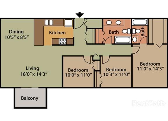 3 Bed 2 Bath Floor Plan at Candlewyck Apartments, Kalamazoo, MI