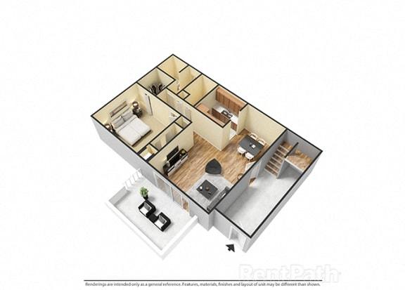 Floor Plan  1 Bedroom 1 Bathroom 3D View Floor Plan at The Lodge Apartments, Indianapolis, IN, 46205