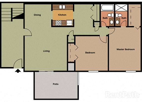 2 Bedroom 2 Bathroom Floor Plan at The Lodge Apartments, Indianapolis, Indiana
