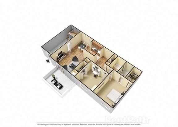 Floor Plan  2 Bedroom 2 Bathroom 3D Floor Plan at The Lodge Apartments, Indianapolis, 46205