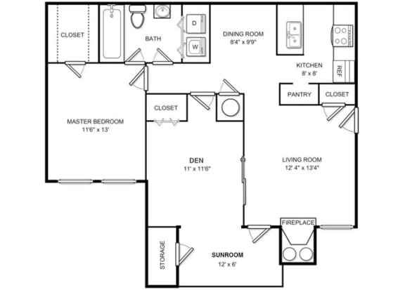 Floor Plan  One Bed One Bath Floor plan at The Hamilton at Kings Place, Columbia, MD
