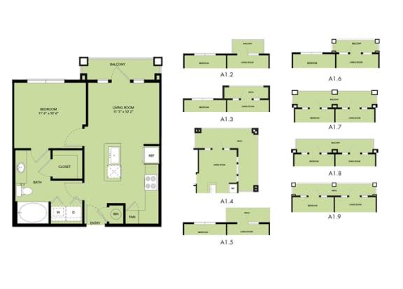 Floor Plan  The Nexus Lakeside A1 Floor Plan Loft Style Apartment