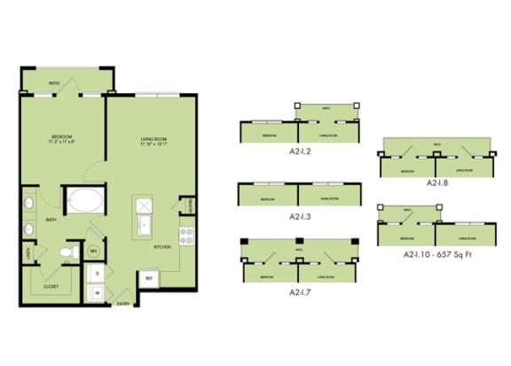 Floor Plan  The Nexus Lakeside|A2 Floor Plan  1 Bedroom 1 Bath
