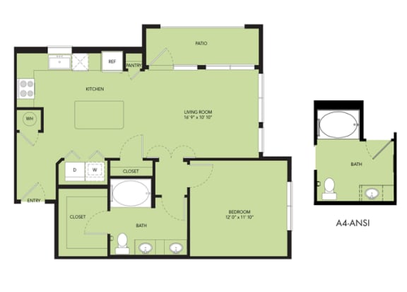Floor Plan  The Nexus Lakeside A4 Floor Plan 1 Bedroom 1 Bath