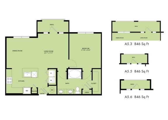 Floor Plan  The Nexus Lakeside|A5 Floor Plan 1 Bedroom 1 Bath