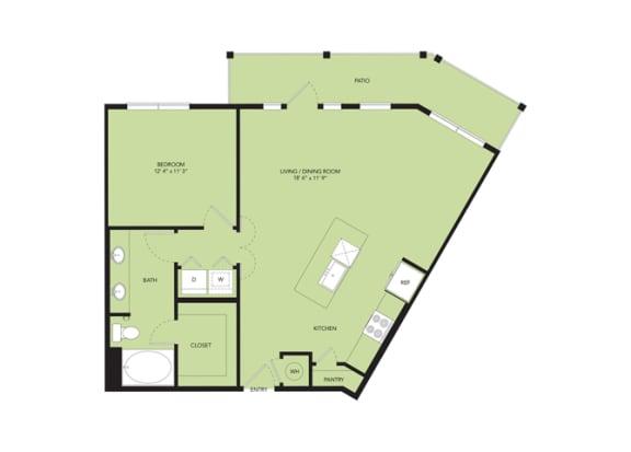 Floor Plan  The Nexus Lakeside|A8 Floor Plan 1 Bedroom 1 Bath