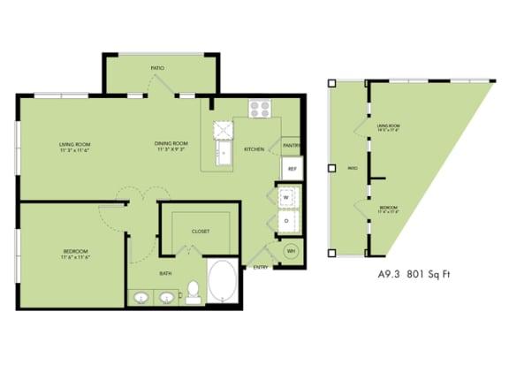 Floor Plan  The Nexus Lakeside|A9 Floor Plan 1 Bedroom 1 Bath