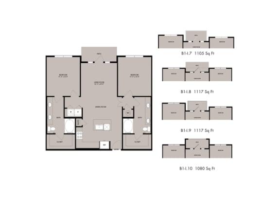 Floor Plan  The Nexus Lakeside|B1 Floor Plan 2 Bedroom 2 Bath