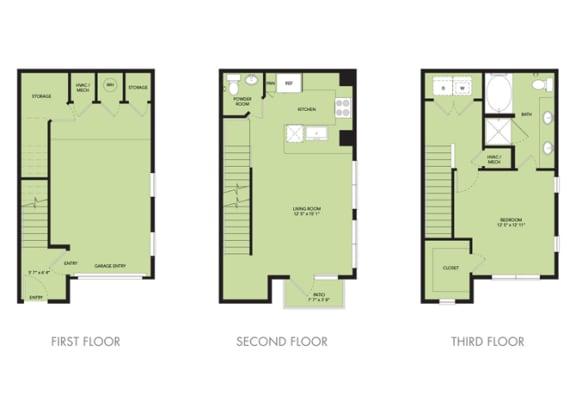 Floor Plan  The Nexus Lakeside|Townhouse A1 Floor Plan 1 Bedroom 1.5 Bath