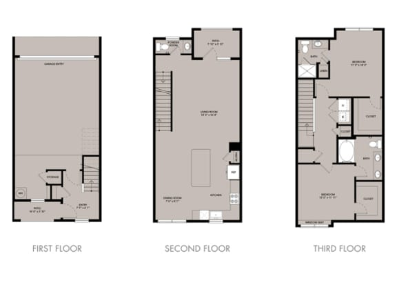 Floor Plan  The Nexus Lakeside Townhouse B1 Floor Plan 2 Bedroom 2.5 Bath
