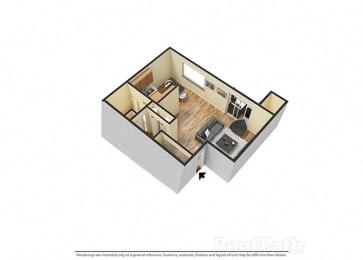 Large Studio 3d Floor Plan at Hamilton Square Apartments, Westfield, IN, 46074