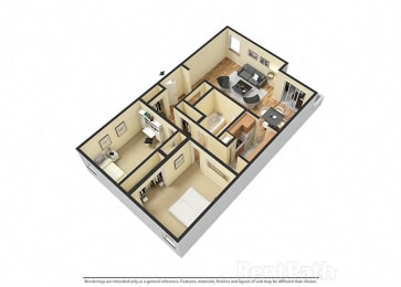 2 Bedroom Garden Floor Plan Available at Lake Camelot Apartments, Indianapolis, 46268