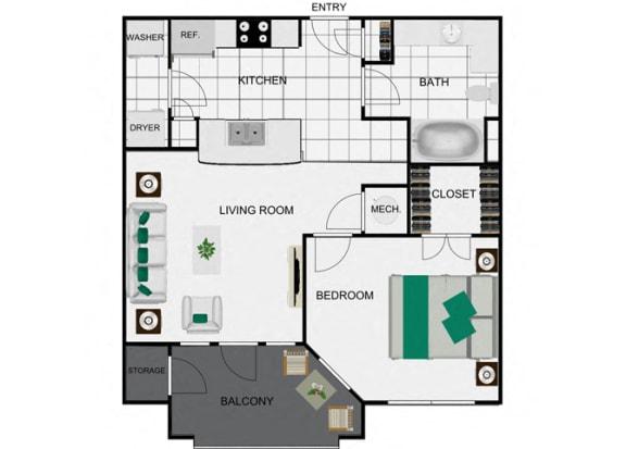 Floor Plan  1 Bed 1 Bath floor plans arlo westchase