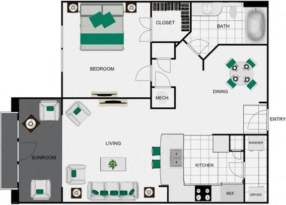 Floor Plan  A6d_2 Floorplan for apartments in houston texas