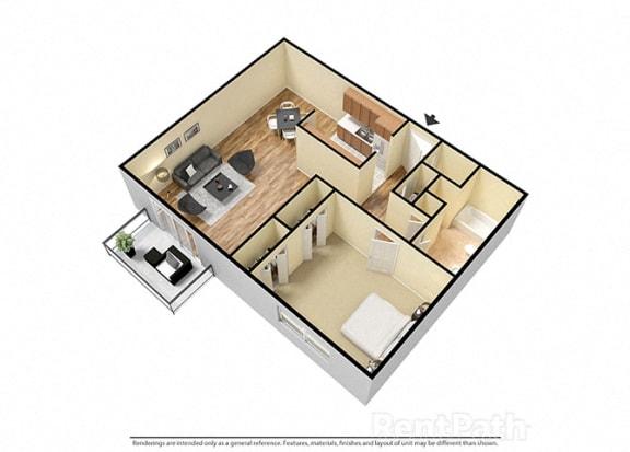 Floor Plan  1 Bed 1 Bath Furnished Floor Plan at Candlewyck Apartments, Michigan