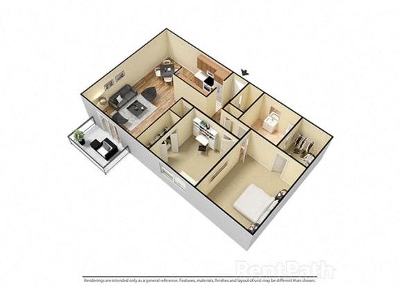 Floor Plan  2 Bed 1 Bath Furnished Floor Plan at Candlewyck Apartments, Kalamazoo, MI, 49001