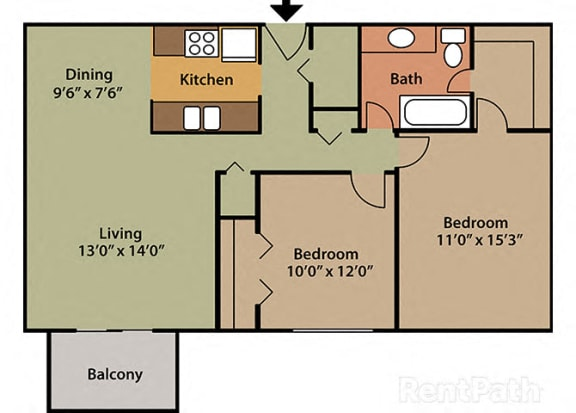 2 Bed 1 Bath East Phase at Candlewyck Apartments, Kalamazoo, MI, 49001