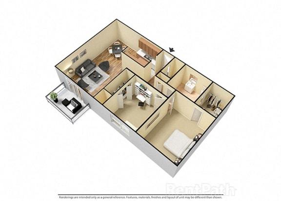 Floor Plan  2 Bed 1 Bath West Phase Floor Plan at Candlewyck Apartments, Kalamazoo, MI