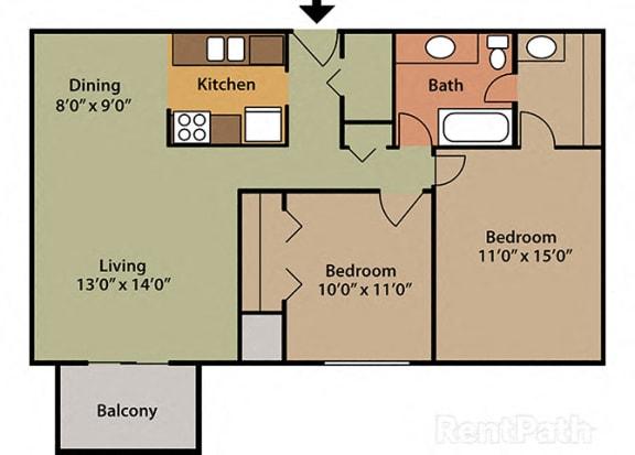 2 Bed 1 Bath West Phase at Candlewyck Apartments, Kalamazoo, 49001