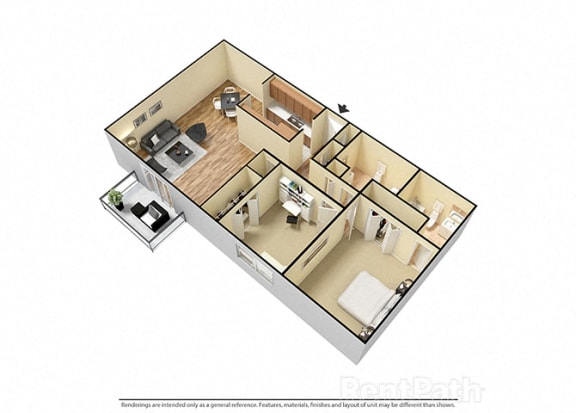 Floor Plan  2 Bed 2 Bath West Phase Floor Plan at Candlewyck Apartments, Michigan