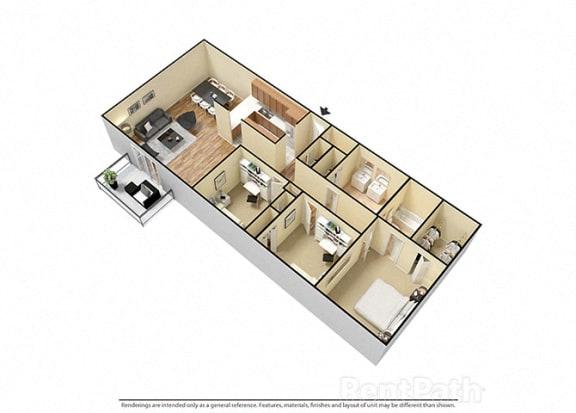 Floor Plan  3 Bed 2 Bath attractive Floor Plan at Candlewyck Apartments, Kalamazoo, MI, 49001