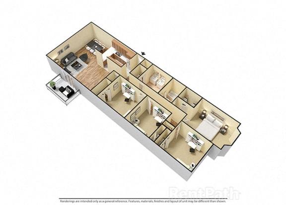 Floor Plan  4 Bed 2 Bath attractive Floor Plan at Candlewyck Apartments, Kalamazoo, 49001