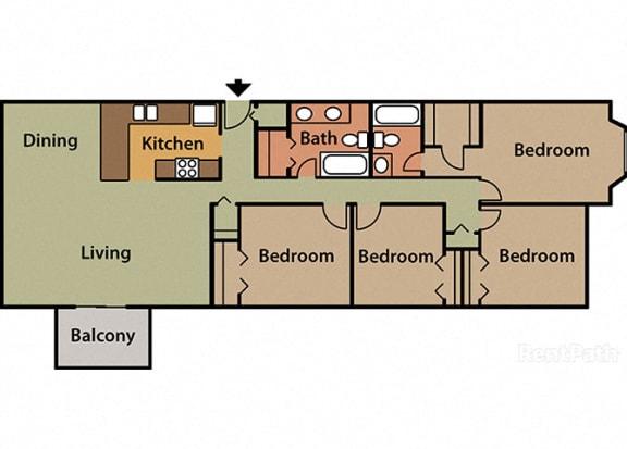 4 Bed 2 Bath Floor Plan at Candlewyck Apartments, Kalamazoo, Michigan