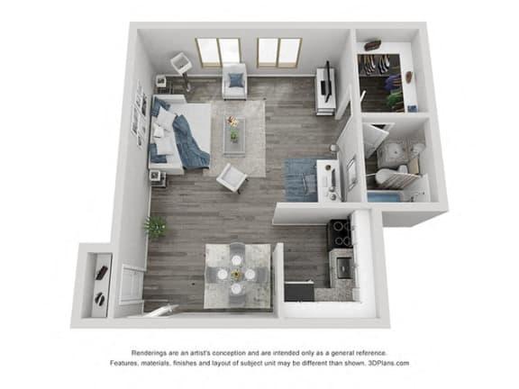 Floor Plan  Beverly Hills floor plan at Three Rivers apartments in Fort Wayne, IN