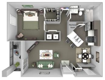 Cheswyck at Ballantyne Apartments - A3 (Arlington) - 1 bedroom and 1 bath - 3D floor plan