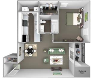 Hampshire Green Apartments - A1 (Carlton) - 1 Bedroom - 1 bath - 3D