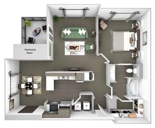 Belle Harbour Apartments - A3 - 1 bedroom and 1 bath - 3D Floor Plan