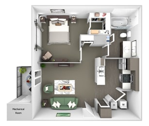 Belle Harbour Apartments - A1 - 1 bedroom and 1 bath - 3D Floor Plan