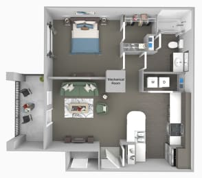 Corbin Greens Apartments - A1 - 1 bedroom and 1 bath - 3D floor plan