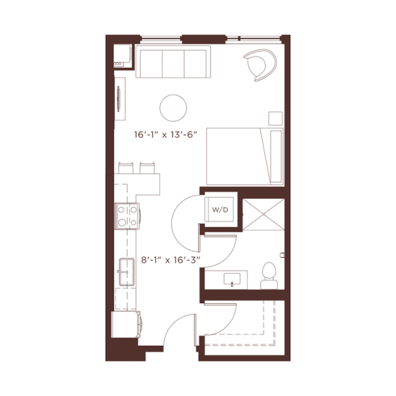 Floor Plan  S1 Floorplan with shower/tub combination at North+Vine, Chicago, Illinois