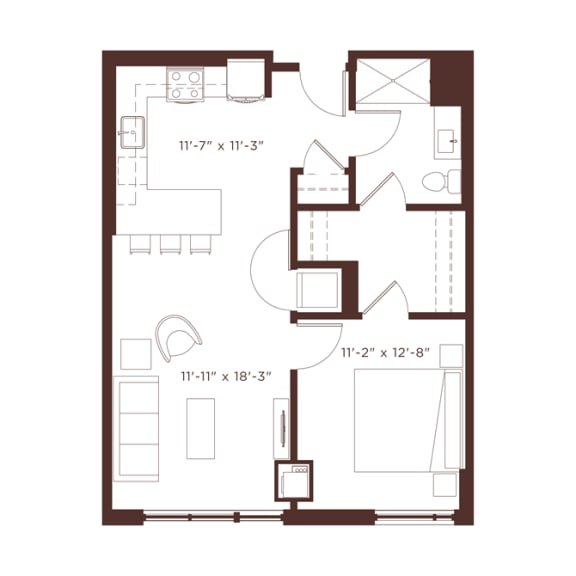 Floor Plan  a2 Floorplan at North+Vine, Illinois, 60610