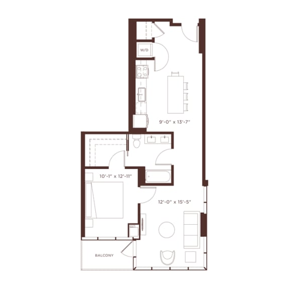 Floor Plan  a5 Floorplan at North+Vine, Chicago, 60610