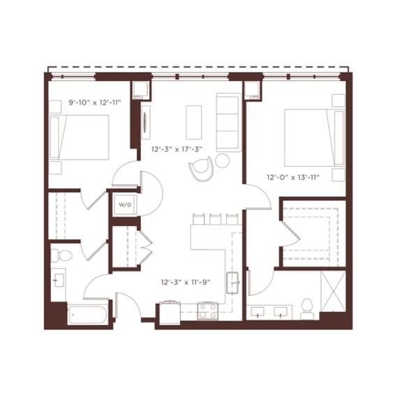 Floor Plan  b2 Floorplan at North+Vine, Illinois